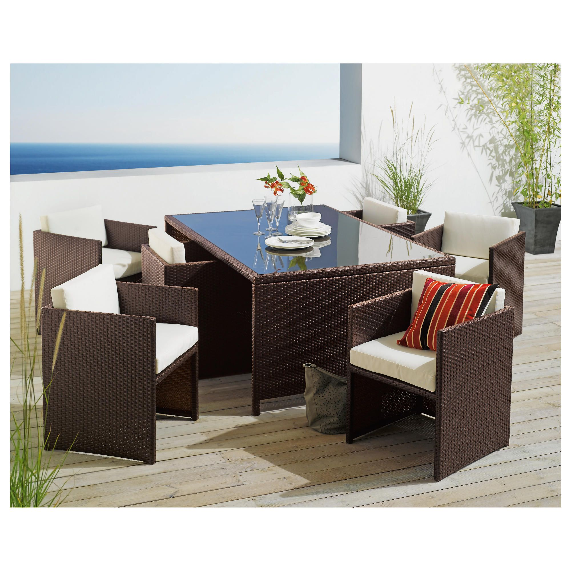 Cuba 6 Seater Hideaway Set - Brown at Tesco Direct