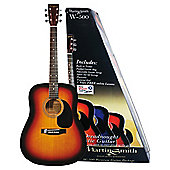 Martin Smith W-500 Acoustic Guitar with Built in Electronic Tuner Kit - Sunburst