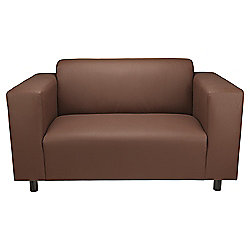 Stanza Leather Effect Small 2 seater  Sofa, Chocolate