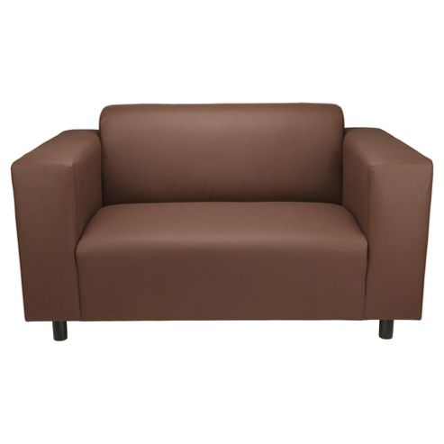 Stanza Leather Effect Small Sofa, Chocolate