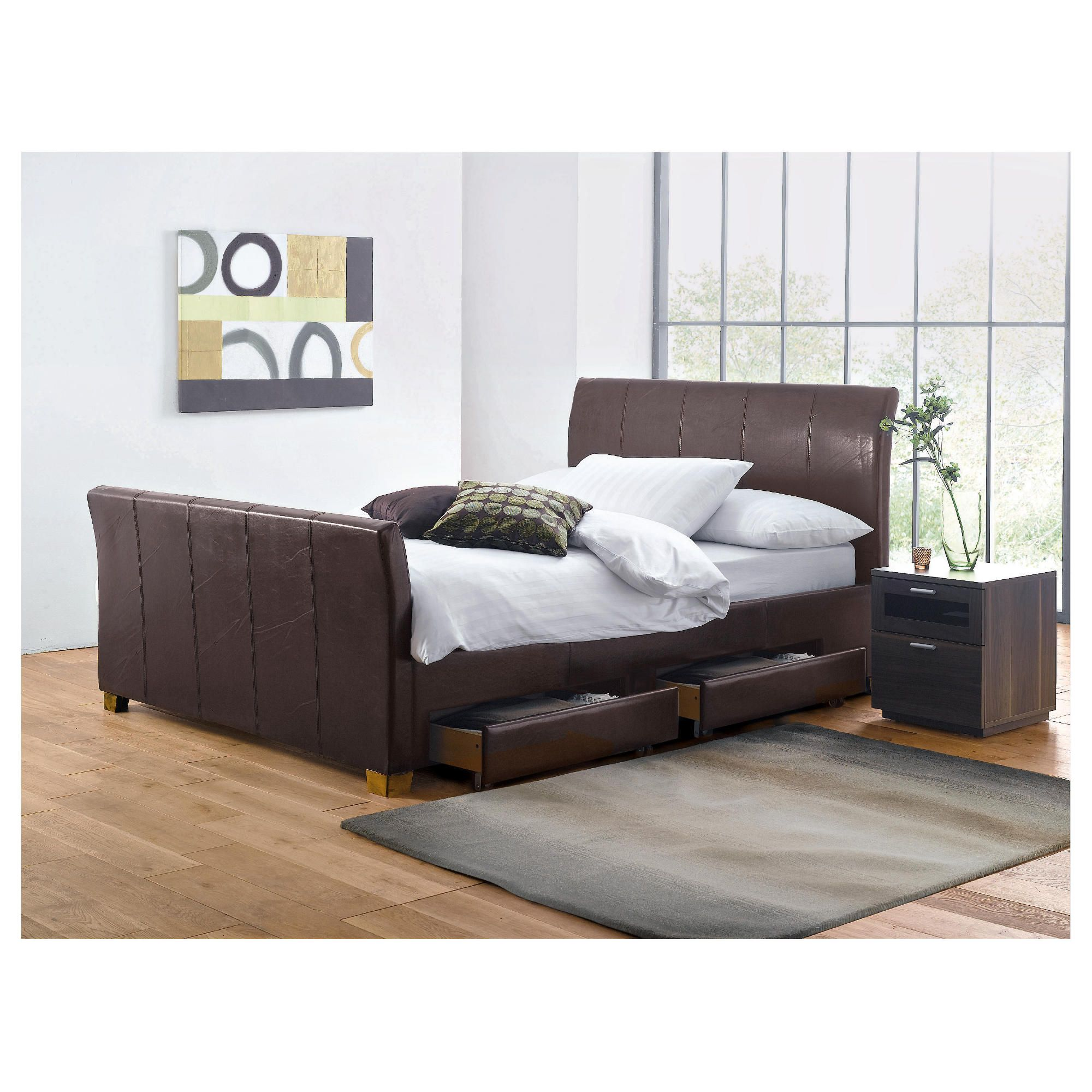 Rayne Double Faux Leather Bed Frame with 4 Drawers, Brown at Tesco Direct