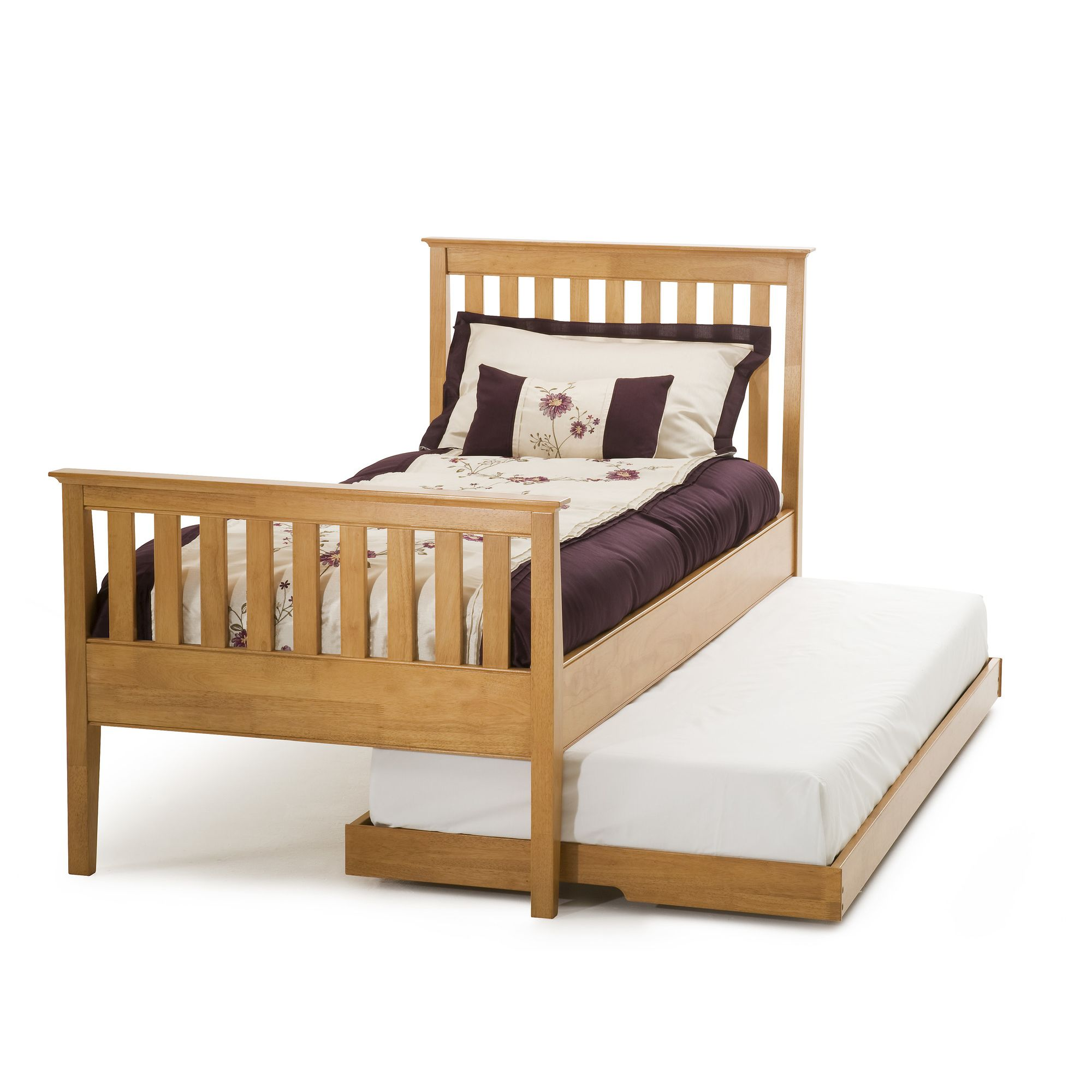 Serene Furnishings Grace Single Guest Bed with High Foot End - Golden Cherry at Tesco Direct