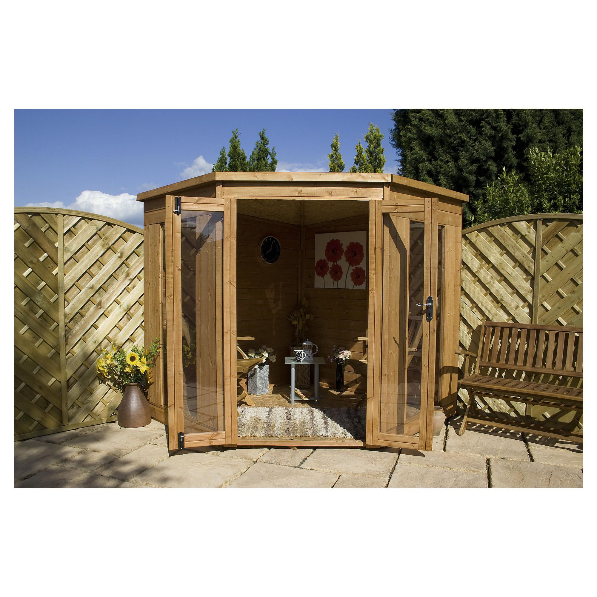 Mercia 8x8 Corner Summerhouse with installation at Tesco Direct