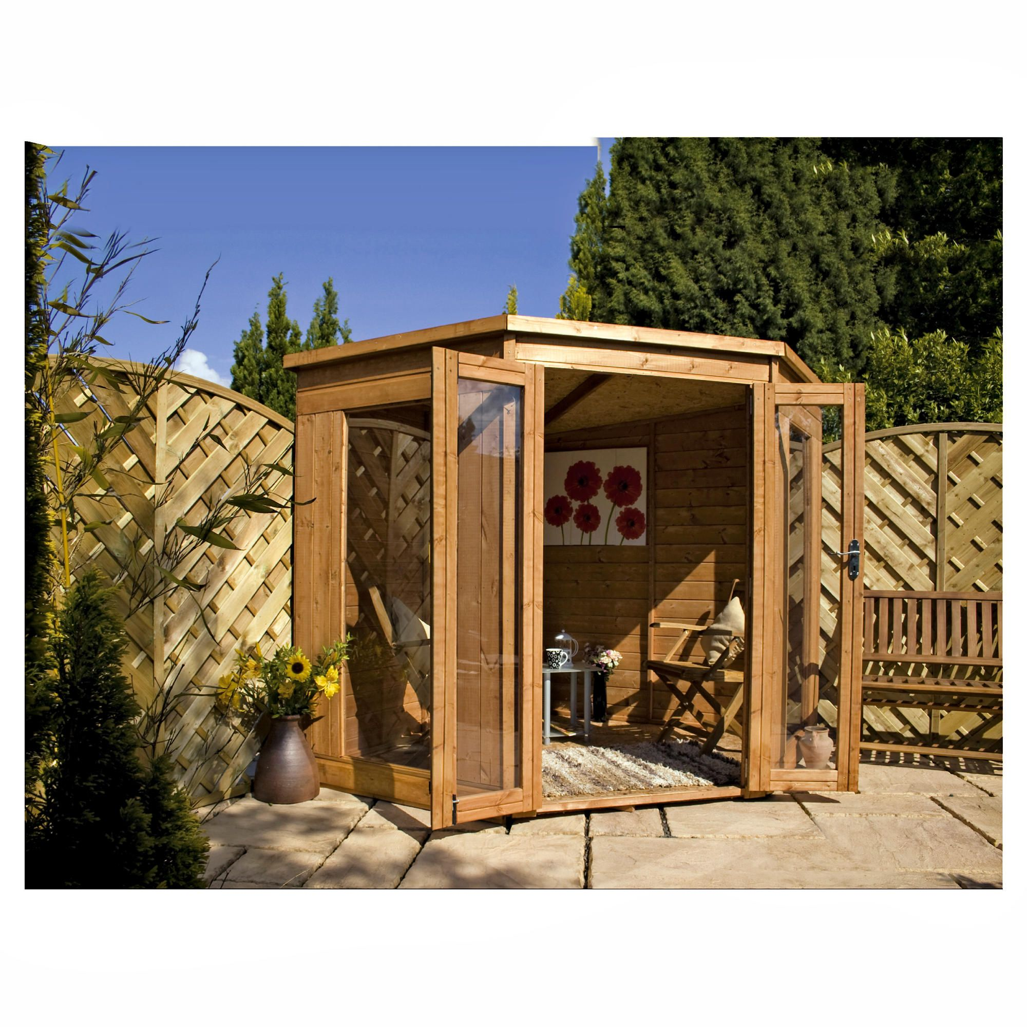 7x7 Corner Summerhouse with installation at Tescos Direct