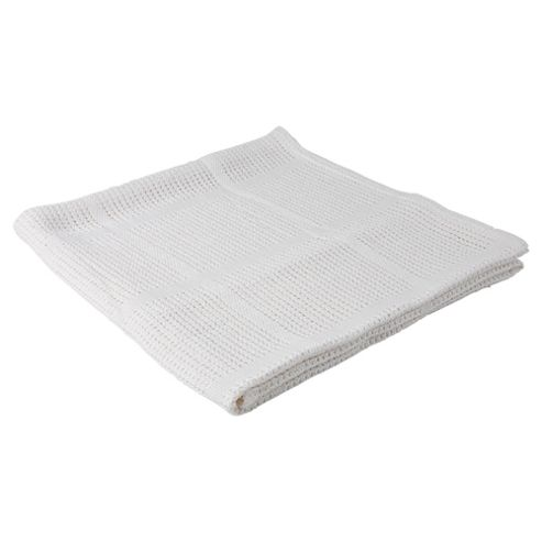 Tesco Loves Baby Cellular Blanket 2 Pack Moses/Pram, White