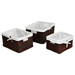 Dyed Banana Leaf Set Of 3 Baskets Lined