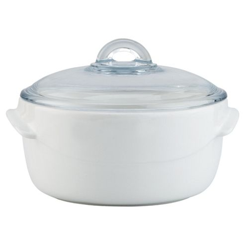Pyrex Wave 2.5L Ceramic Casserole Dish with Lid, White