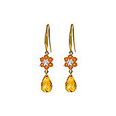QP Jewellers Diamond & Citrine Daisy Chain Earrings in 14K Gold