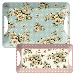 Katie Alice Cottage Flowers Luxury Handled Large Tray and Sandwich Tray Set