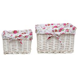 White Wicker Basket Set Of 2 With Floral Lining