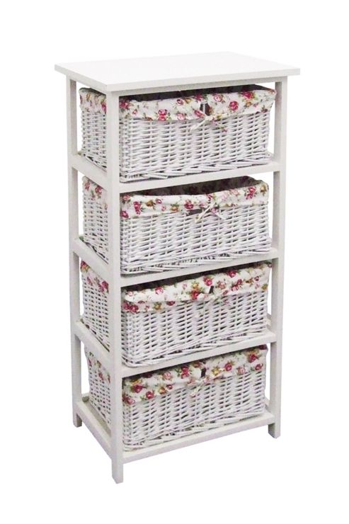 White Wicker 4 Drawer With Floral Lining