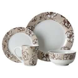 Tesco Etched Floral 16 piece Dinner Set.