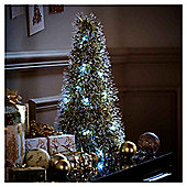 Light Up Gold and Black Tinsel Christmas Tree Room Decoration