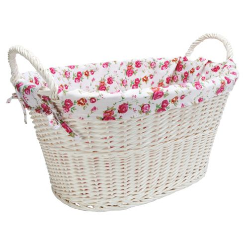 White Wicker Wash Basket With Floral Lining