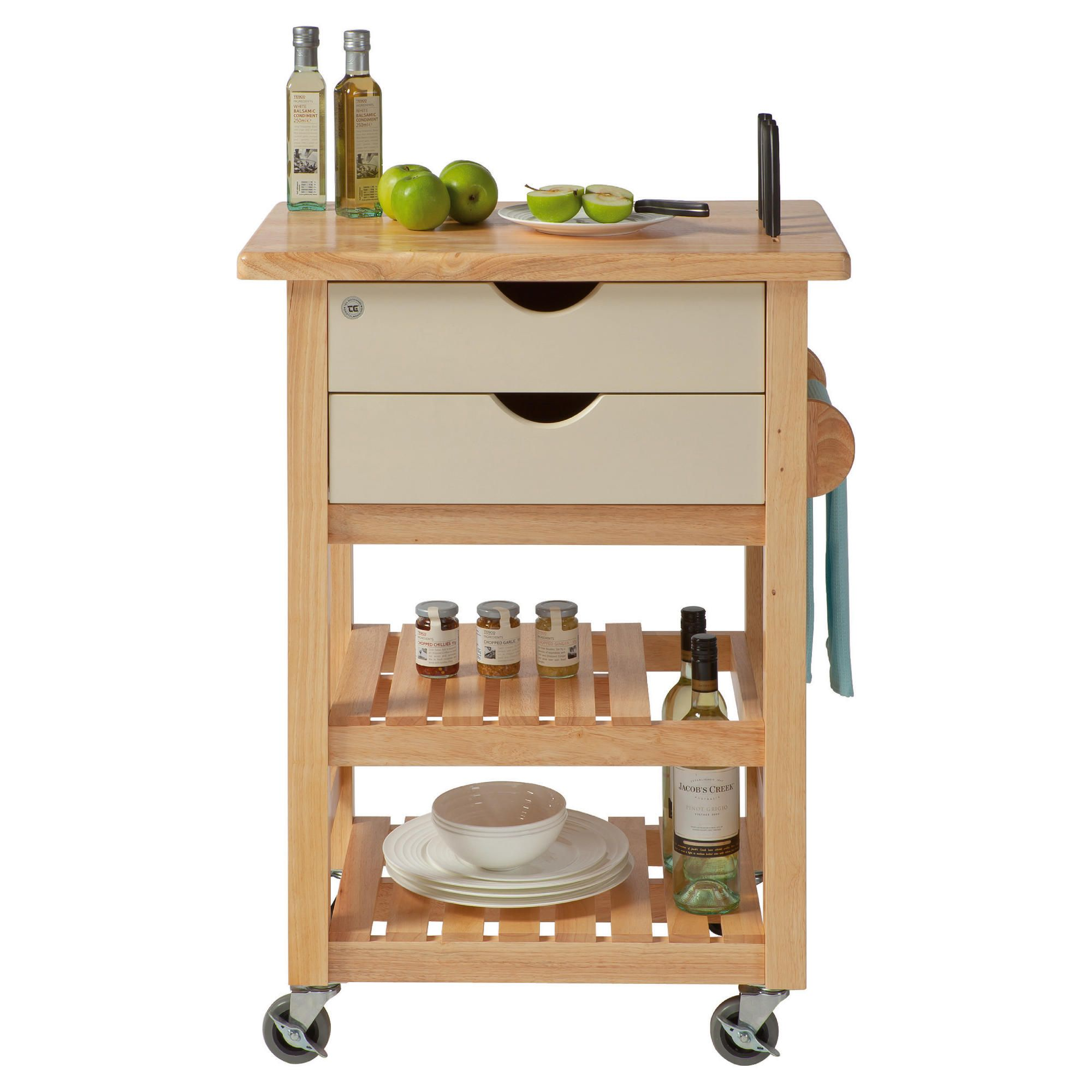 T&G Woodware Ltd Ashton Cream Trolley in Natural Hevea at Tescos Direct