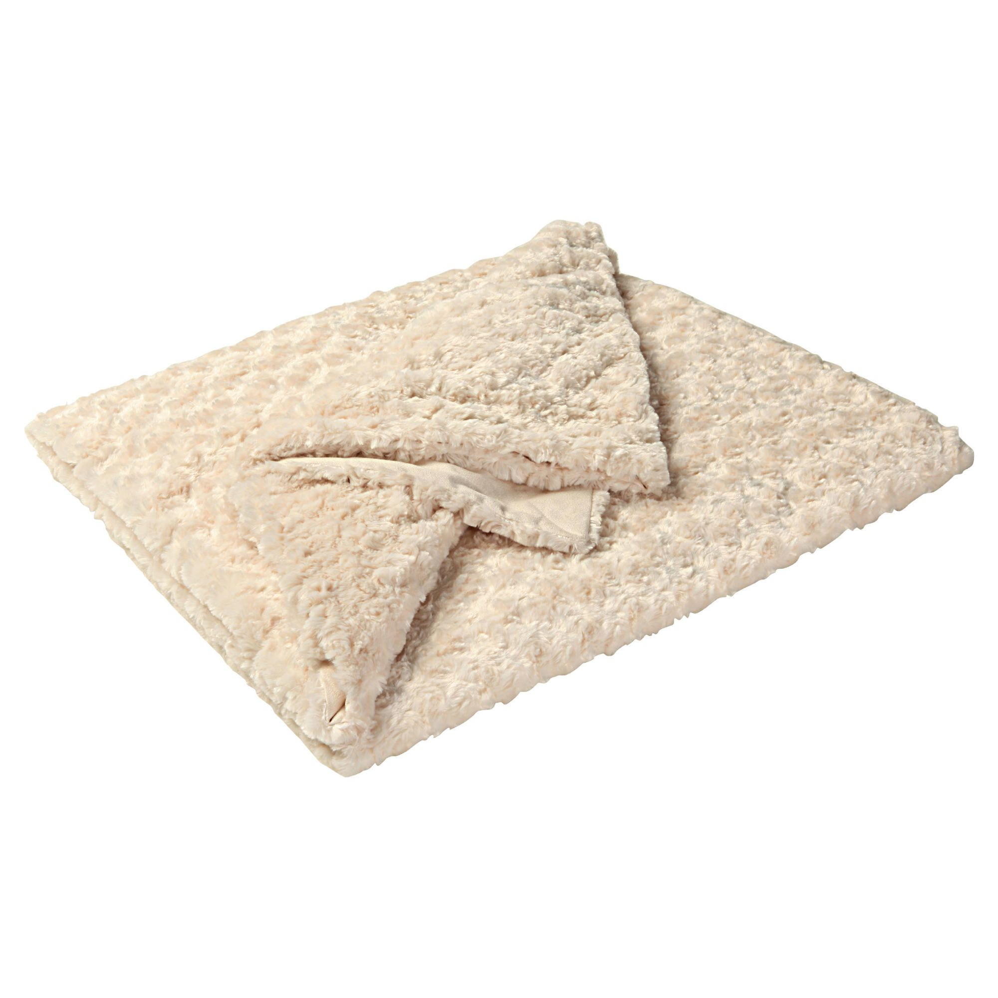 F&F Home Rose Faux Fur Throw 200X230Cm - Cream