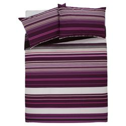 Tesco King Kieran Stripe Print Duvet Cover Set, Plum