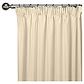 "Tesco Plain Canvas Lined Pencil Pleat Curtains W112xL137cm (44x54""), Cream"