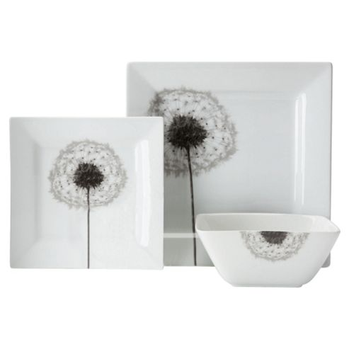 Tesco Dandelion Square Porcelain 12 Piece, 4 Person Dinner Set