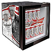 Husky HM134-EL Budweiser Fridge, Capacity 48 Litres, Energy Rating A, Width 44.0cm. Black