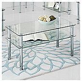 Atom Chrome & Glass Coffee Table, Clear