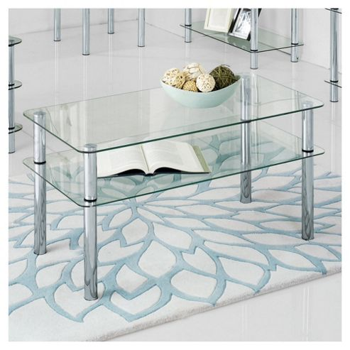 Atom Chrome & Glass Coffee Table, Clear