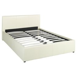 Hanson Double Faux Leather Ottoman Storage Bed Frame, Cream