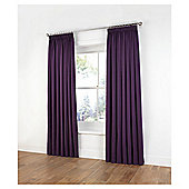 "Tesco Plain Canvas Unlined Pencil Pleat Curtains W117xL137cm (46x54""), Plum"
