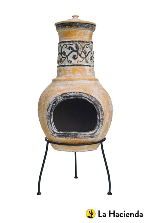 La Hacienda Floral Styled Clay Chimenea Yellow/Brown