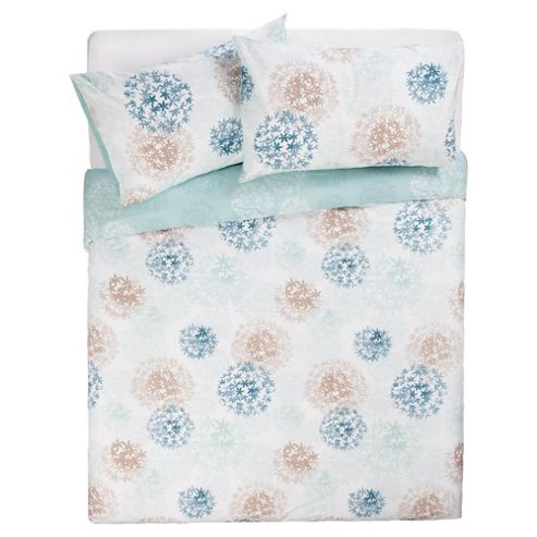 Tesco Tia Print Duvet Set Single-Aqua