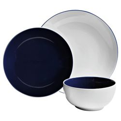 Tesco Coupe 2 Tone 12 piece Dinner Set, Blue
