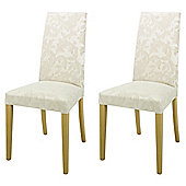 Lucca Pair Of Chairs Oak Legs & Champagne Damask