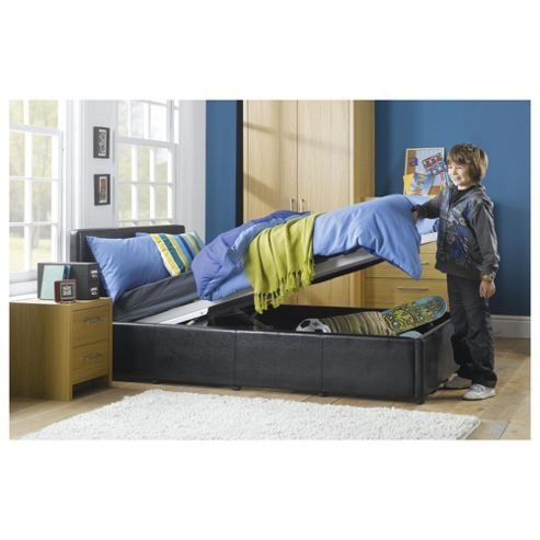 Eden Small Double Faux Leather Ottoman Bed Frame, Black
