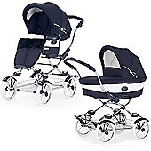 Bebecar Grand Style Classic Chrome Combination Pram (Oxford Blue)