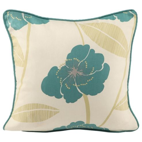 Tesco Set Of 2 Printed Poppy Cushion Covers, Teal