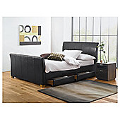 Rayne King Faux Leather Bed Frame with 4 Drawers, Black