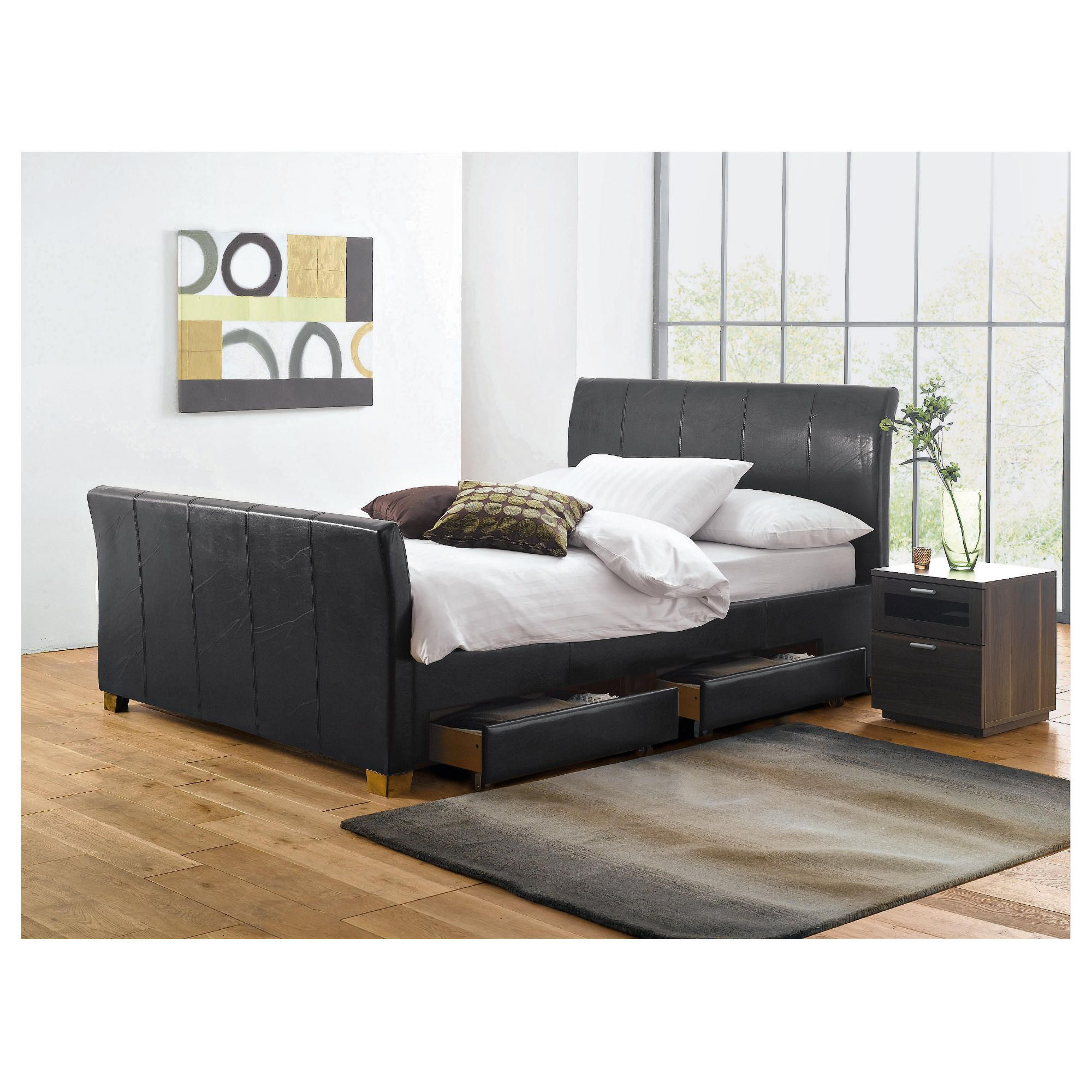 Rayne King Faux Leather Bed Frame with 4 Drawers, Black at Tesco Direct