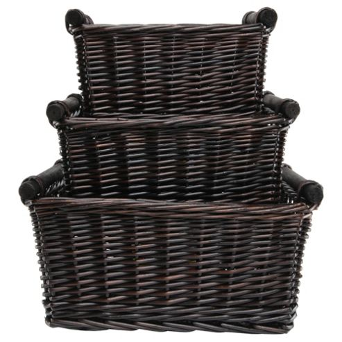 Tesco Wicker Baskets With Wood Handles Set Of 3, Chocolate