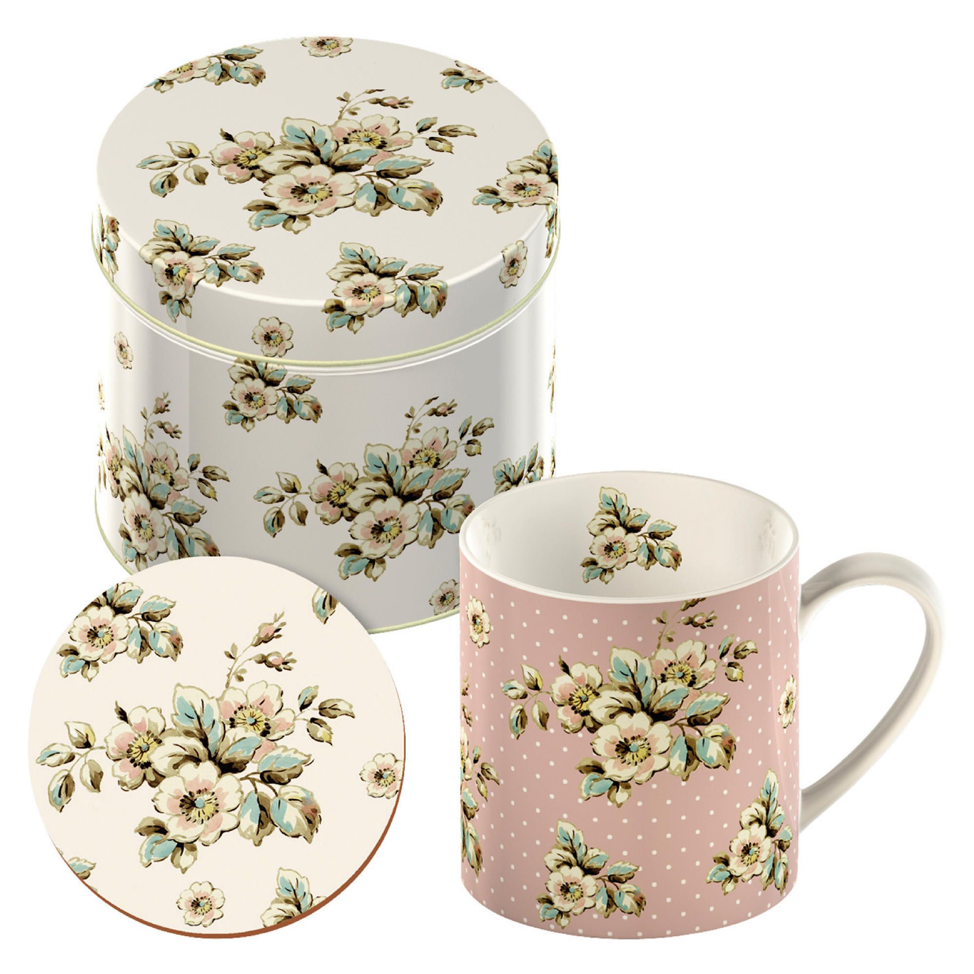 Katie Alice Cottage Flowers Mug And Coaster In A Tin Set