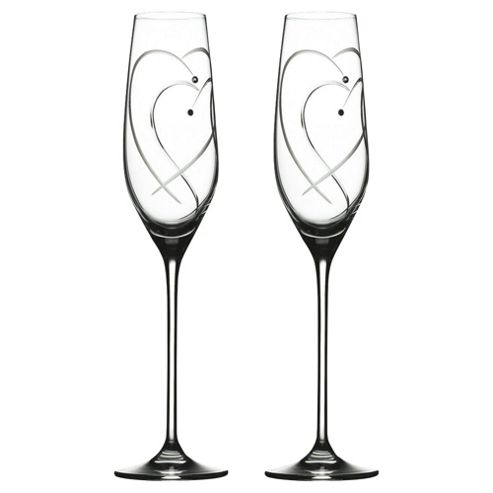 Royal Doulton Two Hearts Entwined Set of 2 Flute Glasses