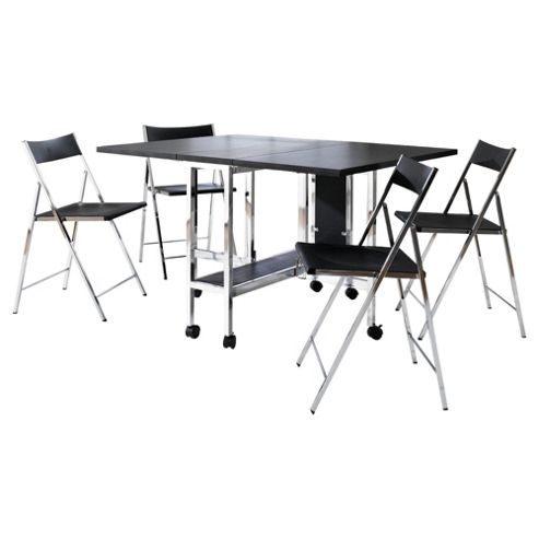 Poplar Gateleg Table & 4 Folding Chairs Set, Black