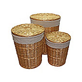 Set of 3 Natural Round Split Willow Wicker Laundry Baskets in 3 Sizes