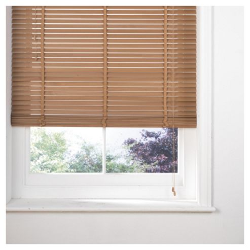 Tesco Wood Venetian Blind 90Cm 35Mm Slats 210Cm Drop, Oak Effect