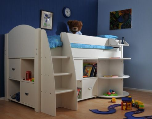 Stompa Rondo Mid Sleeper Bed with 8 Cube Unit and Extending Desk - Antique - White
