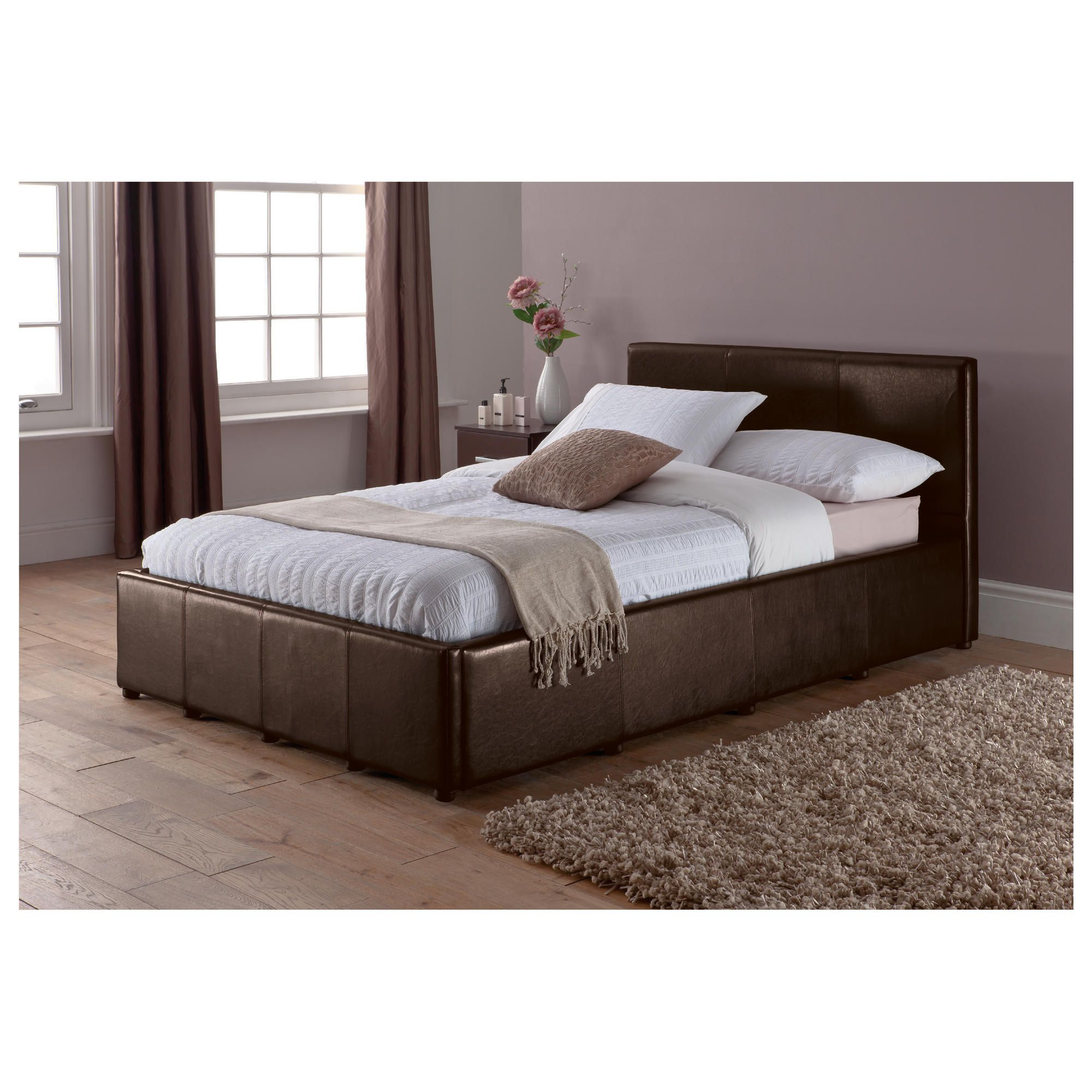 Eden Small Double Faux Leather Ottoman Bed Frame, Brown at Tesco Direct