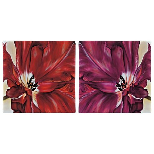 Pack Of 2 Plum & Red Flowers Canvas30X30Cm
