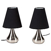 Tesco Lighting Pair Of Touch Lamps Satin Nickel With Black Shades