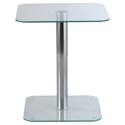 Atom Pedestal Side Table, Clear
