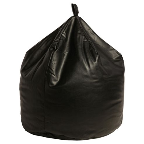 Large Faux Leather Beanbag, Black