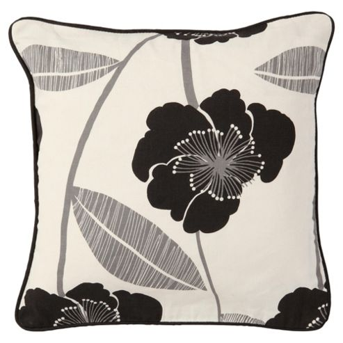 Tesco Set Of 2 Printed Poppy Cushion Covers, Black